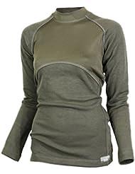 Raptor Hunting Solutions Mérinos Thermiques Dames Sous-vêtements Haut Chemise à Manches Longues Vert