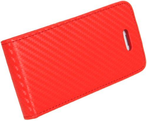 DONZO Handyhülle Flip Cover Case für das Apple iPhone 5 / 5S in Blau Flip Structure als Etui seitlich aufklappbar im Book-Style Flip Carbon-Style Pink