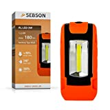 SEBSON LED Arbeitsleuchte, batteriebetrieben, Magnethalterung, Werkstattlampe, Taschenlampe