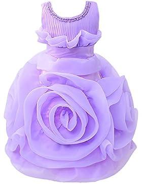 Wolfteeth Vestito Ragazza Floreale Principessa con Grande Fiore per sera Compleanno, Matrimonio