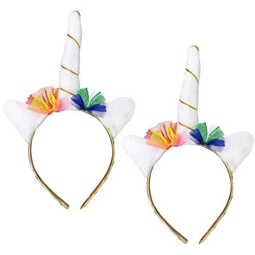 com-four® 2x Einhorn Haarreif, Haarschmuck mit Horn und kleinen Ohren in weiß (02 Stück - Einhorn weiß)