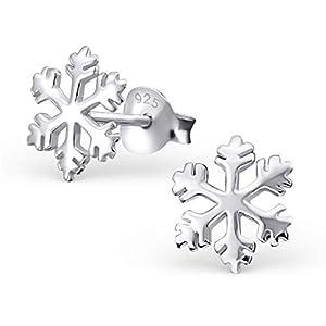 Monkimau Mädchen Ohrringe Schneeflocke Ohrstecker aus 925 Sterling Silver Silber