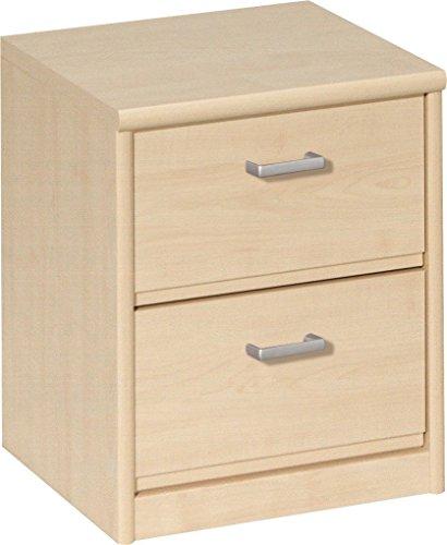 Ahorn Nachttisch (AVANTI TRENDSTORE - Celia - Nachttisch mit 2 Schubladen, in verschiedenen Farben erhältlich, BHT ca. 38x45x36 cm (Beige))