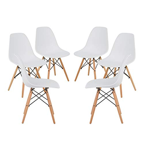 SKLUM Pack 6 SILLAS Brich Scand Blanco Madera Natural - (Elige Color)