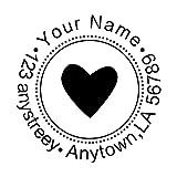 Amlion Address Stempel Rund,Individueller Stempel Personalisierter Text,Rot,Schwarz, Blau, Grün(40cm)