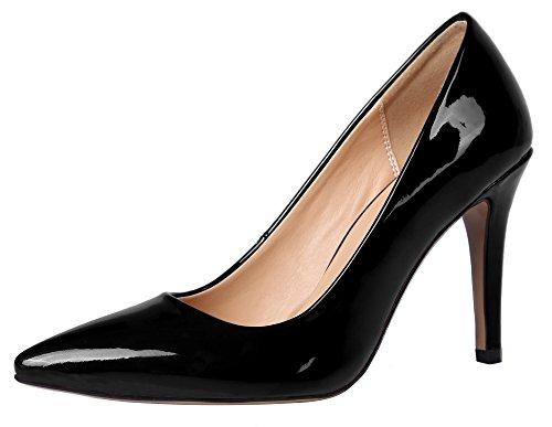 Guoar Übergröße High Heels Büro-Damen Glitzernd Pumps Lackleder Spitze Zehen Geschlossene Toe Stiletto Schwarz
