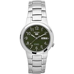 Seiko snka17k 1-5 Gent's Automatic Watch Analogue Dial Steel Strap Green/Grey
