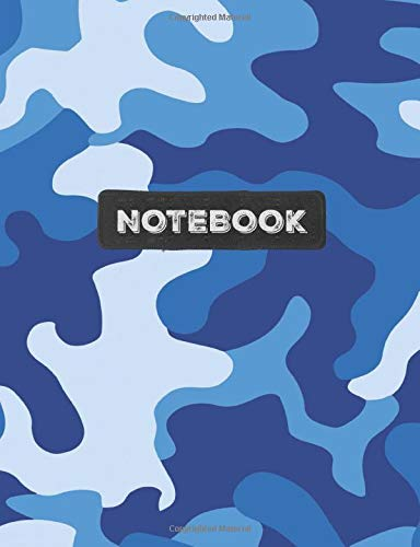 Notebook: Cool Army Navy Blue Camo Camouflage Wide Ruled Composition Note Book, Diary or Journal | 100 pages | 7.44