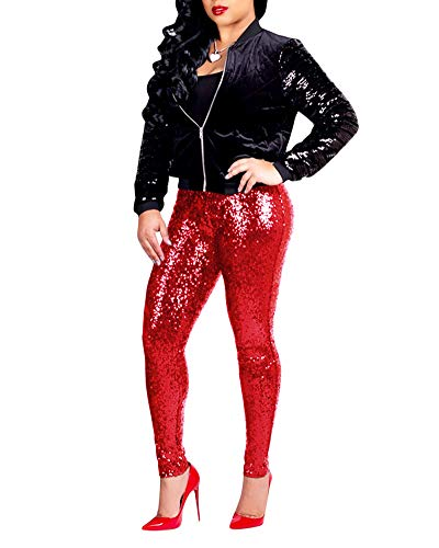 Kostüm Mit Lederleggings - LiangZhu Damen Leggings Mit Pailletten Slim