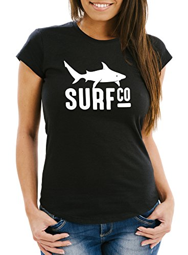Damen T-Shirt Surf Co Hai Shark Slim Fit Moonworks® Schwarz