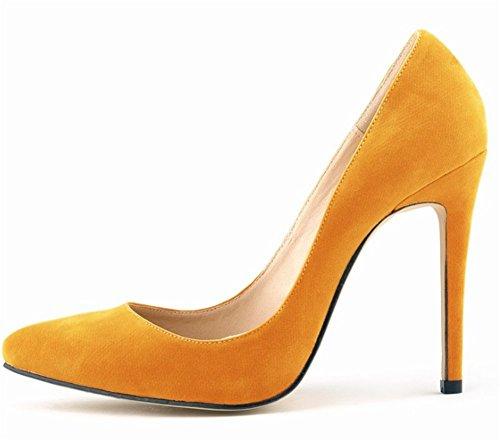 Wealsex Damen Pumps Bequeme Wildleder Stilettos Elegante Spitze High Heels Einfach Stil Damenschuhe Orange