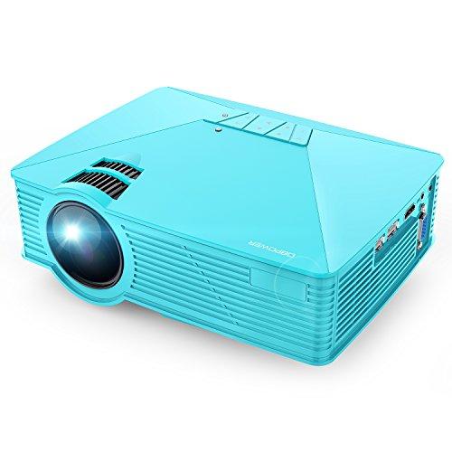 DBPOWER GP15 Mini Projektor Tragbarer 1800 Lumen LED Mini Beamer, Multimedia Heimkino Video Projektor HD Unterstützt 1080P HDMI USB SD VGA AV TV für Laptop DVD Konsolen Spiele iPad Android, Blau