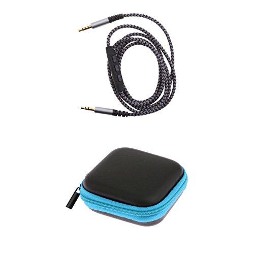 Homyl Kopfhörer Aufbewahrungstasche Beutel+3.5mm Stecker zu Stecker Verlängerungskabel (Ohrhörer Remote Mic)