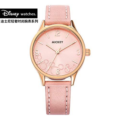 Frauen Klassische Quarzuhr mitPU-Armband kleines Zifferblatt große Skala leicht lesbare Wasserdichte Student Damenuhr,pink