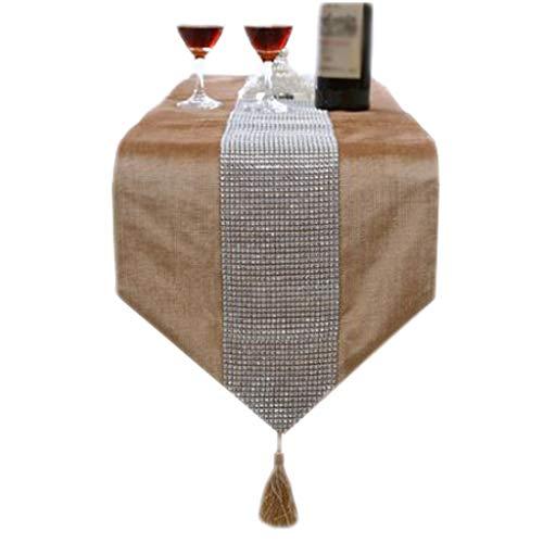 FJH Chemin de table Tableau européen drapeau tissu rayé brillant diamant simple mode lit de café hôtel mariage banquet décoration 2 couleurs 33 cm * 180 cm (Couleur : Beige, taille : 180cm)