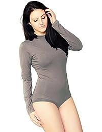 KIA Intim pour Femmes de qualité Justaucorps Body à Manches Longues col  Haut Coton Stretch pour Femme… af70f2e4906