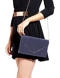 Anladia - Bolso de Mano Cartera de Mano con Cadena Larga 116cm para Mujer para Fiesta Boda Tipo Clutch Tipo Sobre Elegante Satén
