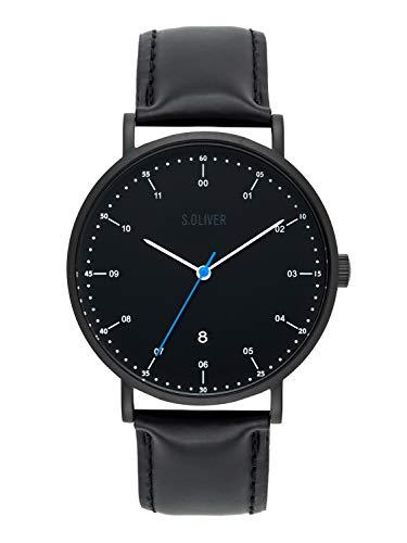s.Oliver Time Herren Analog Quarz Uhr mit Leder Armband SO-3618-LQ