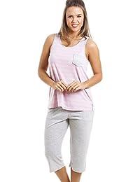 ee67965b9 Conjunto de Pijama con pantalón Pirata - Estampado a Rayas - Gris ...