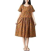 Vestido de algodón Estampado de Lino Venta Yvelands Mujeres más tamaño Manga Corta Suelta Midi Lovely