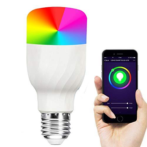 Changement de couleur de la lumière intelligente 11W RVB + CW E27 2700K à 6500K lumières multicolores compatibles avec Bulbphone iOS et Android, paquet de 2