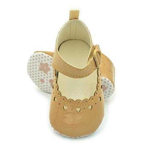 Longra Bébé Fille Chaussures Fringe Soft Soled Non-Slip Creux Chaussures (Taille: 13, Blanc) Kaki
