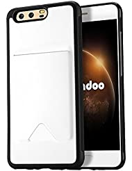 Funda Huawei P10 Plus,Radoo® Slim Cuero y Silicona TPU Flexible Híbrido Suave Cubierta con [Ranuras para Tarjetas] dura Antideslizante Ultra delgado para Huawei P10 Plus (Blanco)