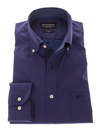 166044 - Bots & Bots Exclusive Collection - Micro Print - Coton - Button Down - Normal Fit Rouge / Navy