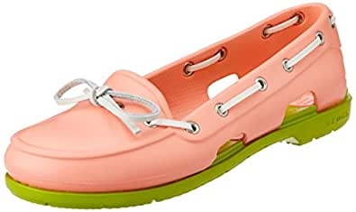 Crocs Women's Beach Line Boat Shoe Women Melon and Volt Green Rubber Boat Shoes - W4
