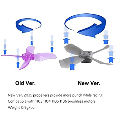 DYS 16pcs 2035 4-Blades Propellers Shark-Mako 2 inch Props for 1104 1105 1106 Brushless Motor 100m-130mm Micro FPV Racing Drone
