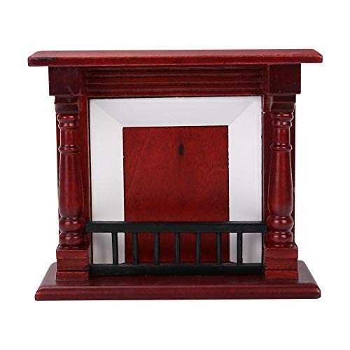 Mootea Dollhouse Fireplace, Dollhouse Decoration Furniture Mini Chimenea de Madera Rosa para...