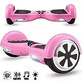 Magic Vida Skateboard Électrique Bluetooth 6.5 Pouces Dollar avec LED Gyropode Smart Scooter Multicolor Auto-Équilibrage pour Enfants et Adultes,Sac de Transport et Télécommande offerts