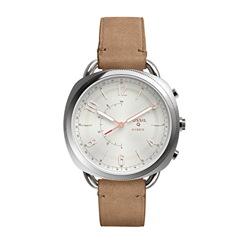 Fossil Hybrid Q Accomplice Damen Smartwatch - Leder - Sand / Multifunktionsuhr analog im Vintage-Look mit Smartfunktionen / Für Android & iOS (Fossil Vintage Frauen Watch)