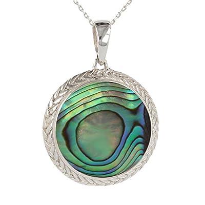 cadeau original femme-bijoux Pendentif -Nacre abalone-Argent massif-rond-Femme