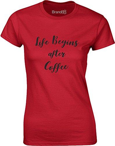 Brand88 - Life Begins After Coffee, Mesdames T-shirt imprimé Rouge/Noir