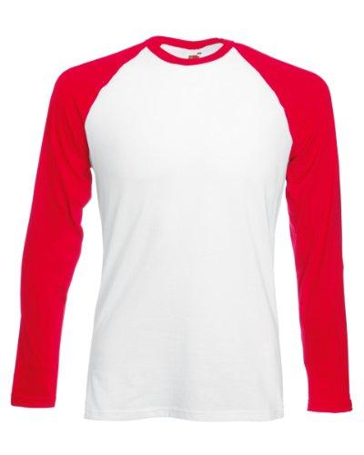 Fruit of the Loom Herren, Regular Fit, T-Shirt, Baseball White/Red
