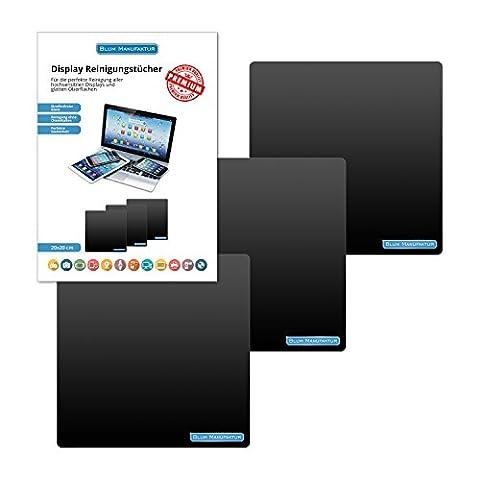 Blum - 3x Display-Reinigungstuch 20x20 cm - für die perfekte Reinigung von Bildschirm | Brille | Computer | Display | iMac | Kamera Objektiv | Laptop | LED TV | Monitor | Notebook | Tablet | Smartphone | Sonnenbrille | Spielkonsole | VR Brille usw.