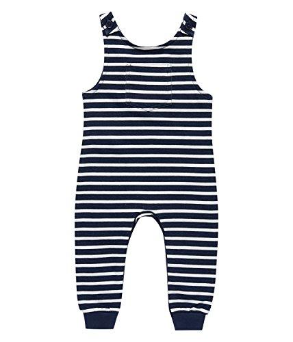 Sense Organics Unisex Baby Spieler Simba Sweat Latzhose aus Bio-Baumwolle Gots-Zertifiziert, Mehrfarbig (Black Navy Stripes 290053), 80 (Herstellergröße: 9M)