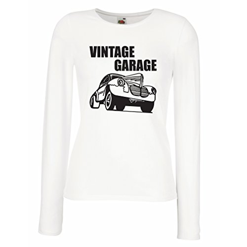 lepni.me Manches Longues Femme T-Shirt Garage Vintage - équipement d'atelier, Vêtements Automobile Blanc Noir