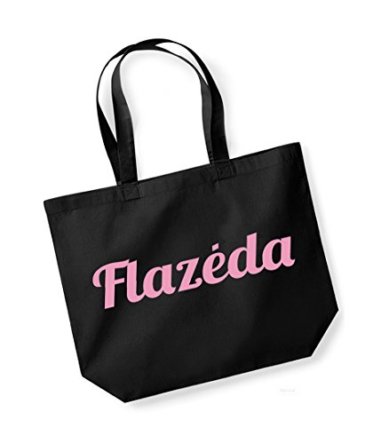 Flazeda- Large Canvas Fun Slogan Tote Bag Black/pink