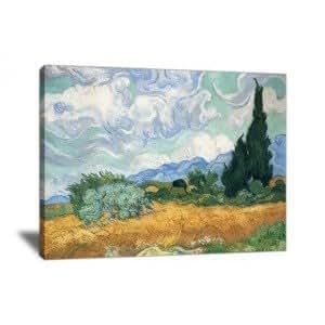 Reproduction de tableau : Champ de blé avec cyprès - Van Gogh, Vincent