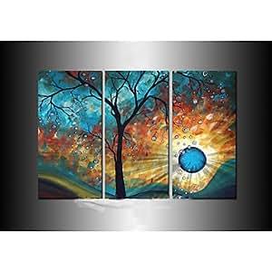 Pi arbre soleil art mural de lune décoration peinture à l'huile peinte à la main moderne sur toile 3pcs / set sans cadre
