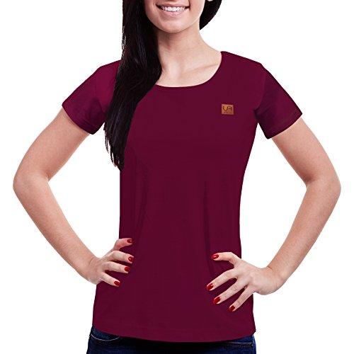 urban air StyleFit | T-Shirt | Damen | Sport, Freizeit | 100% Baumwolle, Leder-Patch, Rundhals, Kurzarm | Schwarz, Hell Grau, Weiß, Weinrot | S, M, L, XL | Tailliert (Weinrot, XL) (Vintage-sport-shirt Baumwolle)