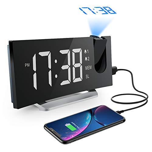 """Mpow Radio Despertador Digital Proyector, FM Radio Reloj Despertador con Proyector Digital de Alarma Dual con 4 Sonidos, 3 Tonos, 6 Brillos Ajustables, Pantalla LED 5"""", Puerto USB, 12/24 horas, Snooze"""