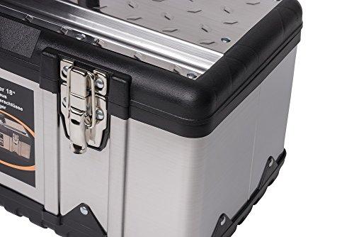 XL Werkzeugkoffer PROFI 18 aus Edelstahl mit robustem Kunststoff-Rahmen und herausnehmbaren Werkzeugträger. Mit Metallverschlüssen, abschließbar. Maße: 47 x 23,8 x 20,3 cm - 5