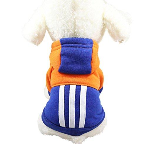 Imagen de ropa para mascotas ropa de perro caliente cachorro ropa para perros abrigo con capucha para mascotas mono de perro disfraz de mascota vestido de perro correa de gato lmmvp s, azul