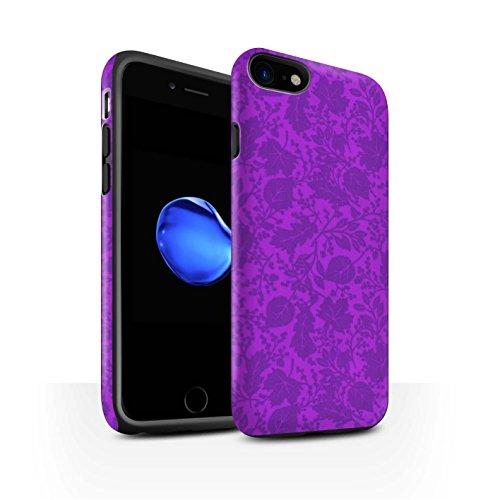 STUFF4 Matte Harten Stoßfest Hülle / Case für Apple iPhone 8 / Rot Muster / Blatt/Silhouette Muster Kollektion Lila