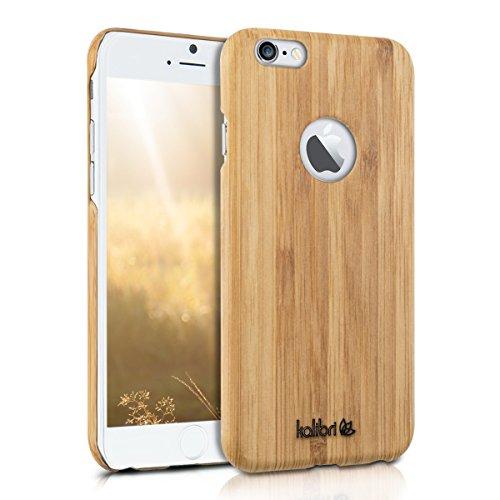 kalibri Holz Case Hülle für Apple iPhone 6 / 6S - Handy Cover Schutzhülle aus Echt-Holz und Kunststoff Mix - Bambusholz in Hellbraun