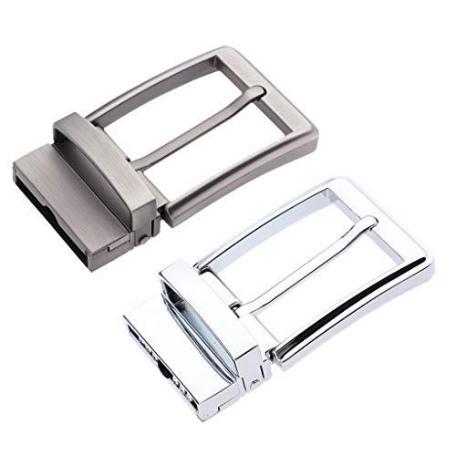 IPOTCH Reversible Metal Rectangular Belt Buckle for Men's Casual Pants - #1, 35mm