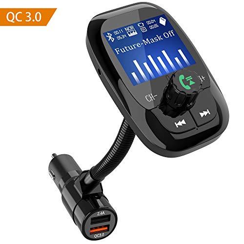 Trasmettitore fm bluetooth,zttopo fm trasmettitor auto 3.0 carica rapida 360 ° girevole cvc duale porte usb 1.44